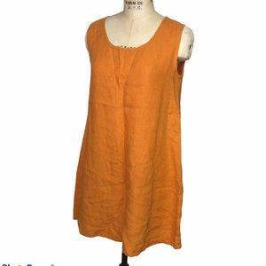 Bryn Walker orange linen sleeveless tunic